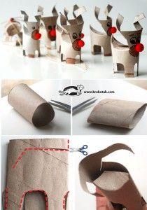 Moltes maneres de reutilitzar els tubs de paper de higiènic per fer manualitats amb els infants. / Many ways to reuse toilet paper tubes to make crafts with children.