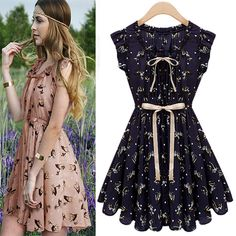 Adorable V Neck Navy Blue Chiffon Dress