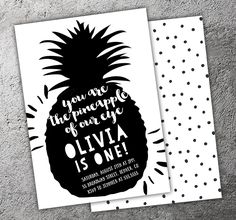 Printable Black and White Pineapple of My Eye Birthday Invitation | Modern Tropical Fruit | Luau | Kids 1st Birthday Party | Thank You Card | Cupcake Toppers | Favor Tag | Food Labels | Candy Bar Wrapper | Photo Props | Signs | Banner | DIY Party Package Decor Available!