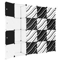 LANGRIA Stufenregal 16-Kubus Modular Lagerregal Kleiderschrank Garderobe mit Transluzenten Zebra Striped T�ren Design f�r Kleidung, Schuhe, Spielzeug und B�cher