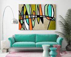 Vibrant Colorful Abstract-0-21. Mid-Century Modern Green Blue