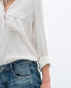 simple white shirt and jeans
