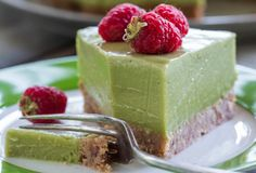 Avocado, lime and coconut 'cheese' cake with raspberry and passionfruit   #NadiaLim