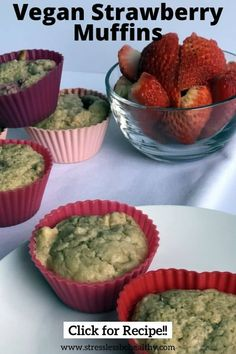 Your kids are going to love this easy and healthy vegan strawberry muffins recipe! Perfect for a nice summer day! They're simply the best! Healthy Kids Snacks For School, Kid Snacks, Strawberry Muffins Healthy, Strawberry Recipes, Vegan Muffins, Healthy Muffins, Vegan Meal Plans, Fun Baking Recipes, Baking Cups