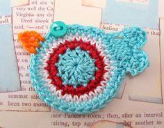 Crocheted Aqua Red Bird by FineThreads