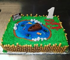 Fishing themed first birthday cakewww.facebook.com/carinaedolce    www.carinaedolce.com #carinaedolce First Birthday Cakes, First Birthdays, Fishing, Facebook, Desserts, Food, Tailgate Desserts, One Year Birthday, Deserts