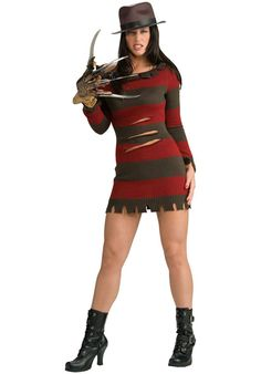 The A Nightmare On Elm Street Sexy Ms. Freddy Krueger Costume is the best 2019 Halloween costume for you to get! Everyone will love this Womens costume that you picked up from Wholesale Halloween Costumes! Costume Halloween, Freddy Krueger Halloween Costume, Halloween Fancy Dress, Adult Halloween, Women Halloween, Halloween Night, Halloween Horror, Spirit Halloween, Trendy Halloween