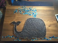 Whale in water/sequins string art