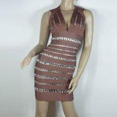 7152e5e15edb7 Herve Leger Double Shoulder Bandage Dress In Sienna