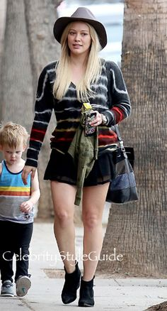 Hilary Duff Wears A Silk Tie Dye Tee In Sherman Oaks