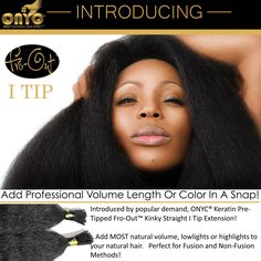 Today #ONYCHair is launching a NEW PRODUCT: Fro-Out ™ Kinky Straight I-Tips!   Have a professional install the #ONYC I-Tips from the finished style #hair collection, and instantly add more volume to your unprocessed hair.  Also a great way to add highlights without coloring your natural hair! Shop USA Now >>> ONYCHair.com Shop UK Now >>> ONYCHair.uk