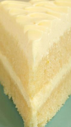 Lemon Cream Cake Recipe ~ Dense lemon cake layers and a light, fluffy, lemon-y frosting
