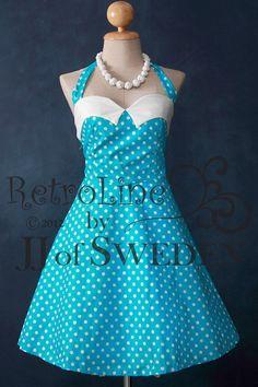 Polka dot rockabilly handmade dress. Retro designed halter neck dress, 50's inspired. S / M on Etsy, $59.00