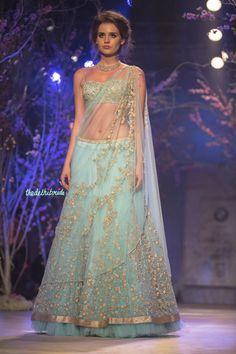 Sky blue light lehenga what to wear on engagement Jyotsna Tiwari India Bridal Fashion Week 2014 Indian Lehenga, Lehenga Sari, Blue Lehenga, Anarkali, Bridal Lehenga, Indian Bridal Wear, Indian Wedding Outfits, Indian Outfits, Indian Wear