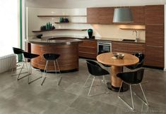 Check out these awesome curved kitchen island designs. Curved overhangs, island structures and more. Kitchen Design Gallery, Best Kitchen Designs, Modern Kitchen Design, Interior Design Kitchen, Interior Office, Wood Kitchen Cabinets, Kitchen Countertops, Kitchen Dining, Kitchen Decor