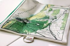 Fold over clutch  women hand bag printed with the map by efratul