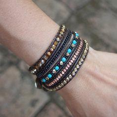 Items similar to Blue mix Wrap bracelet, Boho Wrap Bracelet, Beadwork bracelet on Etsy Bohemian Bracelets, Boho Jewelry, Beaded Bracelets, Wrap Bracelets, Leather Jewelry, Leather Cord, Silver Bracelets, Jewelery, Salvation Bracelet