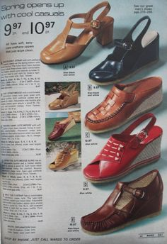 Wedge heels were another throwback to the Wedge loafers, wedge sandals, and wedge oxfords each had a cork wedge sole and a full coverage body. Canvas wedge sandals were colorful in summer with white laces. 70s Shoes, Women's Slip On Shoes, Sock Shoes, Monk Strap Shoes, Ankle Strap Heels, Wedge Heels, Wedge Loafers, Oxfords, 70s Women Fashion