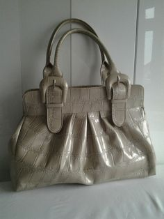 Cream Patent Mock Croc Handbag