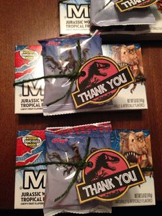 Party Favors. Jurassic World Mike & Ike + Fruit Snacks.