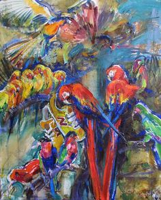 "Painting ""Cities parrots"" by Violeta Monsevych - $700, canvas & oil; 100x80 cm; Jose Art Gallery  animal painting, colourful, trainers, inpiration, creative, birds, oil paintig, drawing, oil on canvas"