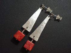 Unique Handmade Silver and Coral Earrings-Hammered by AnnaRecycle