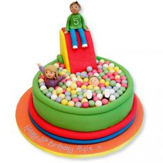 Ball Pit Cake--- great for a bouncy house party
