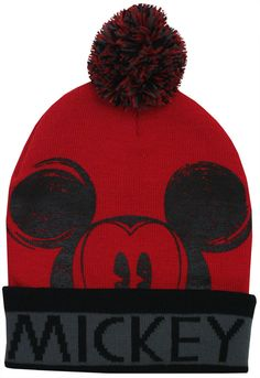 Mickey Mouse Disney Character Adult Winter Knit Cuffed with Pom Beanie Hat #Disney #FunFashion