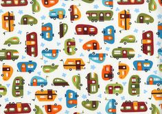 Out N About from Robert Kaufman: The great American road trip! The Out N About collection captures the fun and adventure of hitting the road with super cute campers, classic green highway signs and fluffy clouds in the sky. Kids will love this fabric for back-of-the-car blankets, travel bags and car seat pillows! $11.40 per yard