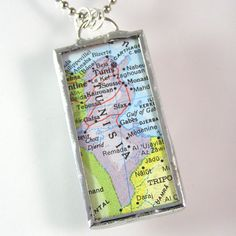 Tunisia Map Pendant Necklace by XOHandworks.com $20