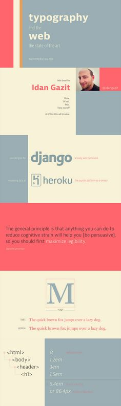 """""""Web Typography: State of the Art,"""" PowerPoint presentation design by Idan Gazit. These slide designs and layout feature rad typography of course. Images and icons are used tastefully, but the text takes center-stage."""