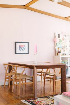 @Alaina Marie Marie Kaczmarski Chicago Apartment Tour // office // walnut dining table // @INDI Design Farrow & Ball Middleton Pink paint // @Lucy Kemp Chavez Style Lighting chairs // photography by Stoffer Photography