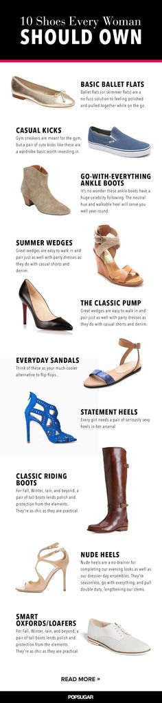 Shoes every woman should have in her closet. But I disagree w/ oxfords! How about good running shoes or comfortable walking shoes, or adorable (Hunter fitted, high-gloss black RAIN BOOTS, hello???????: