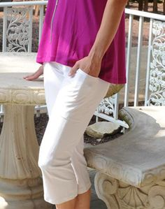 Unique, Pretty Colors are the highlight of the JoFit Ladies golf collection just like this White CLEARANCE JoFit Ladies  Live In Golf Capris!