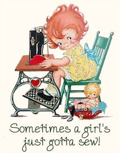 vintage sewing. This is me when the mood hits!  Sometimes, you just gotta!