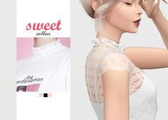 Sweet Collar  • New mesh / EA mesh edit  • Category: necklace (women)  • Age: teen / young adult / adult / elder  • 4 swatches  • Note: top ver.  • Suggested by @catsblob  Download: SimFileShare