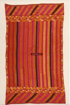 828 Antique Striking Bagh Phulkari with Stripes Indian Textiles, Vintage Textiles, Textile Patterns, Textile Art, Phulkari Embroidery, Wool Thread, Black Thread, Hanging Wall Art, Antique Art