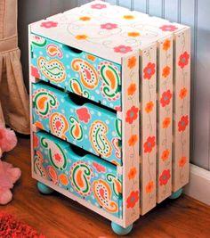 Excellent crate refashion. Instant 3 drawer dresser.