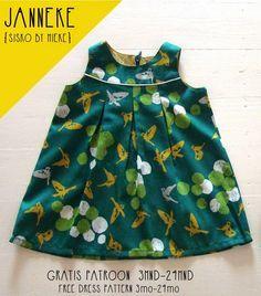 Süßes Haengerchen, Kleid mit Falten nähen (Holländisch, aber mit vielen Bildern) 3-24M I sisko by mieke: Gratis patroon én Grootse Give-Away