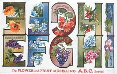 E, F, G, H, I ~ Flower and Fruit ABC Series, ca. 1930s
