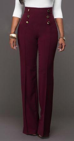Button Design High Waist Long Casual Wide Leg Pants - Holiday Season  Sales!! 45 d5073fc44