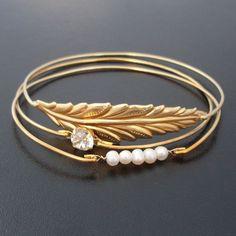Leaf, Pearl & Rhinestone Bracelet Set, Autumn Wedding Jewelry, Winter Wedding Jewelry, Fall Wedding Jewelry, Bridal, Gold Rhinestone Jewelry on Etsy, $39.00