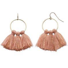 LC Lauren Conrad Pink Tassel Nickel Free Drop Hoop Earrings ($9.80) ❤ liked on Polyvore featuring jewelry, earrings, pink, tassel jewelry, pink earrings, metal earrings, hoop earrings and fish hook earrings