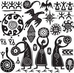 Illustration of Elements for designing primitive art vector art, clipart and stock vectors. Native Art, Native American Art, Primitive Kunst, Art Pariétal, Doodle Drawing, African Symbols, Afrique Art, Aboriginal Art, Tribal Art