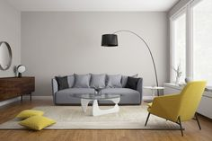 Sala cinza com sofá cinza