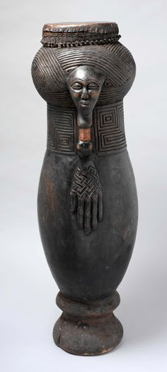 Africa | Bulup (Dance Drum) from the Kuba people of the DR Congo | Wood, hide, wood pegs, copper wire | early 20th century