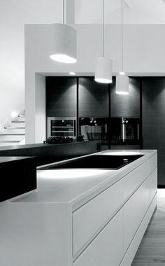 modern b+w kitchen