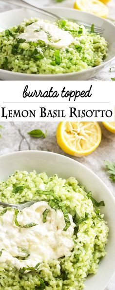 Lemon basil risotto is topped with a luxurious swirl of creamy burrata in this flavorful Italian main course. Vegetarian and gluten-free! Healthy Recipes, Vegetarian Recipes, Cooking Recipes, Vegetable Recipes, Vegetarian Italian, Top Recipes, Italian Main Courses, Lemon Basil, Pasta