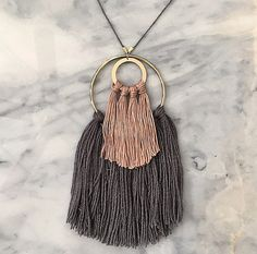 No. 2 // Fiber Necklace // Tassel Necklace by wildcolumbinetextile. Possible artist (fall 2015)