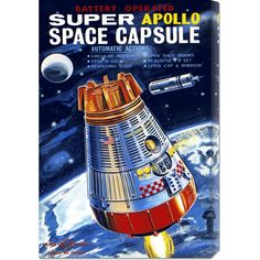 A hand-crafted stretched canvas of Retrorocket, 'Battery Operated Super Apollo Space Capsule' is a museum quality reproduction of the original work. Shipped finished and ready-to-hang, the piece is a welcome addition to any type of décor.
